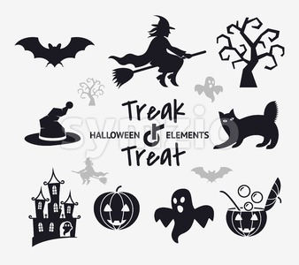 Digital vector black happy halloween icons with drawn simple line art info graphic, presentation with bats, cat and pumpkin elements around promo Stock Vector