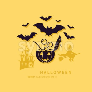 Digital vector yellow black happy halloween icons with drawn simple line art info graphic, presentation with bats, cat and pumpkin elements around Stock Vector