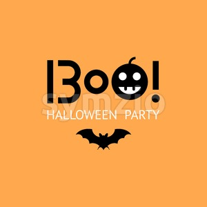 Digital vector yellow black happy halloween icons with drawn simple line art info graphic, presentation with bat and pumpkin elements around promo Stock Vector