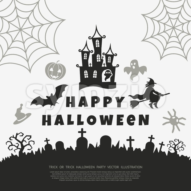 Digital vector black happy halloween icons with drawn simple line art info graphic, presentation with bats, cat and cemetery elements around promo Stock Vector