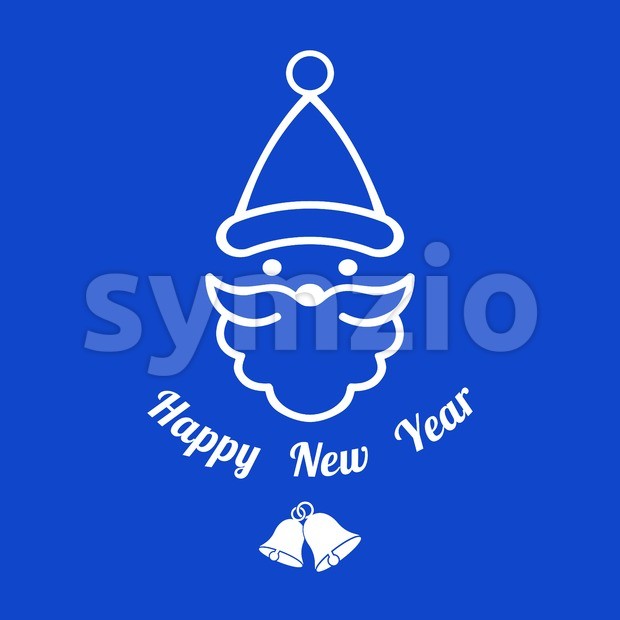 Digital vector blue happy new year merry christmas icon with drawn simple line art, santa claus face with beard and bells promo template, flat style Stock Vector