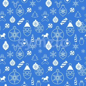 Digital vector white blue happy new year merry christmas icons with drawn simple line art info graphic, seamless pattern, presentation with toys and Stock Vector