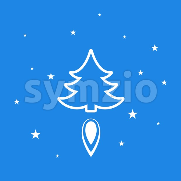 Digital vector blue happy new year merry christmas icon with drawn simple line art, fir tree with fire spark and stars promo template, flat style Stock Vector