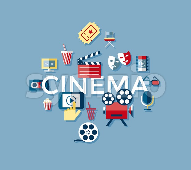Digital vector blue cinema icons with drawn simple line art info graphic, presentation with screen, movie and old camera elements around promo Stock Vector
