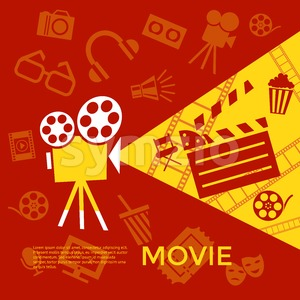 Digital vector red yellow cinema icons with drawn simple line art info graphic, presentation with screen, movie and old camera elements around promo Stock Vector