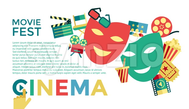 Digital vector blue cinema icons with drawn simple line art info graphic, presentation with movie fest, fun and  mask elements around promo template, Stock Vector