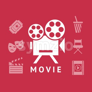 Digital vector red white cinema icons with drawn simple line art info graphic, presentation with screen, movie and old camera elements around promo Stock Vector
