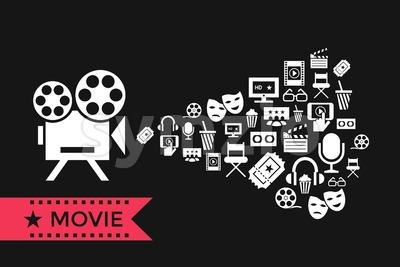 Digital vector red white cinema icons with drawn simple line art info graphic, presentation with screen, movie and old camera projecting elements Stock Vector