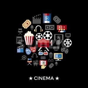 Digital vector red black cinema icons with drawn simple line art info graphic, presentation with screen, movie and old camera elements around promo Stock Vector