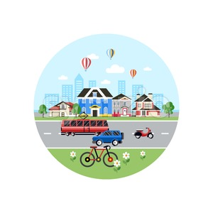 Digital vector blue city transport icons with drawn simple line art info graphic, presentation with car, tram and school building elements around Stock Vector