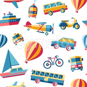Digital vector blue red yellow city transport icons set with drawn simple line art info graphic, seamless pattern, presentation with car, train and Stock Vector