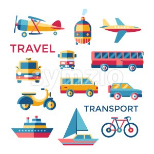 Digital vector blue red yellow travel transport icons set with drawn simple line art info graphic, presentation with car, tram and taxi elements Stock Vector