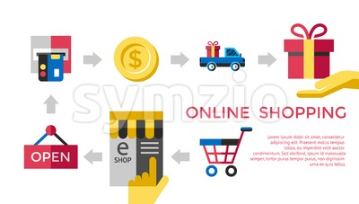 Digital vector white online shopping icons with drawn simple line art info graphic, presentation with money, commerce and coin elements around promo Stock Vector