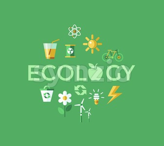 Digital vector green ecology icons with drawn simple line art info graphic, presentation with recycle, flowers and alternative energy elements around Stock Vector