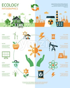 Digital vector green ecology icons with drawn simple line art info graphic, presentation with recycle, hands, pollution and alternative energy Stock Vector