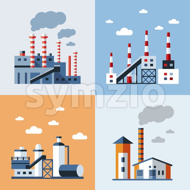 Digital vector blue factory pollution icons with drawn simple line art info graphic, presentation with plant, smoke, environment and energy elements Stock Vector