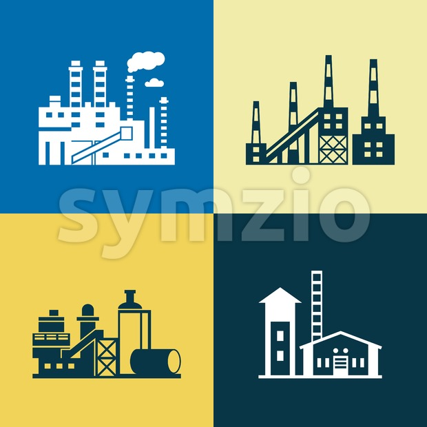 Digital vector blue yellow factory pollution icons with drawn simple line art info graphic, presentation with plant, smoke, environment and energy Stock Vector