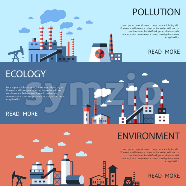 Digital vector blue factory pollution icons with drawn simple line art info graphic, presentation with nuclear plant, smoke, environment and energy Stock Vector
