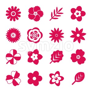 Digital vector red flowers set icons with drawn simple line art info graphic, presentation with petals, branch and floral elements around promo Stock Vector