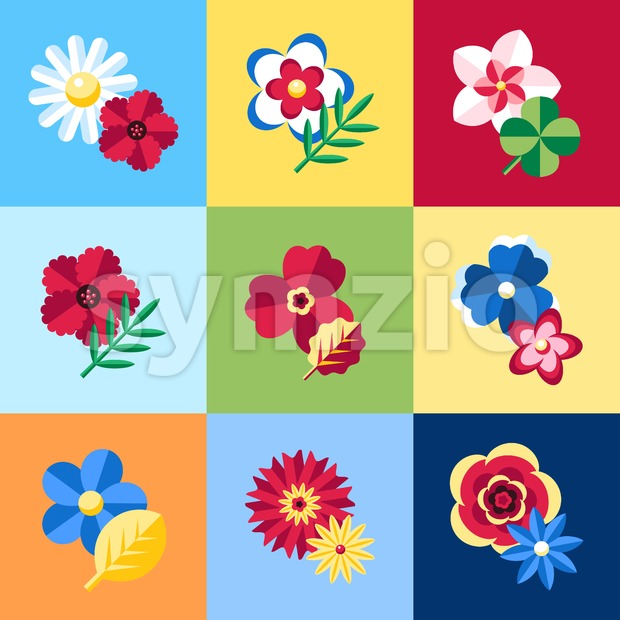Digital vector blue flowers set icons with drawn simple line art info graphic, presentation with petals, branch and floral elements ...