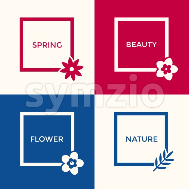 Digital vector blue red flowers set icons with drawn simple line art info graphic, presentation with frames, spring beauty, square ...