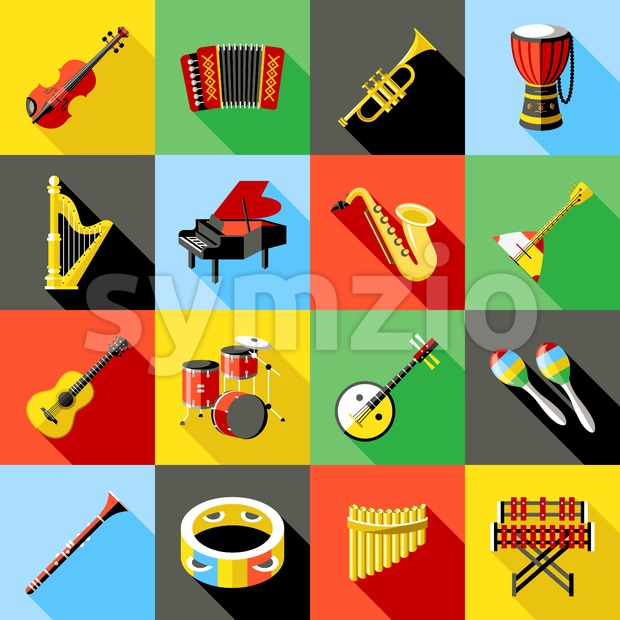 Digital vector green music instruments icons with drawn simple line art info graphic, presentation with guitar, piano, drums and sound ...