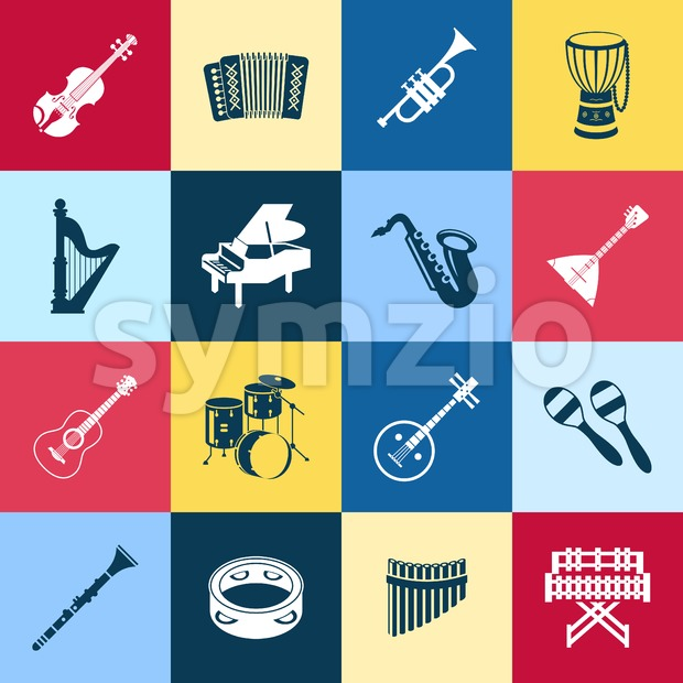 Digital vector green red yellow music instruments icons with drawn simple line art info graphic, presentation with guitar, piano, drums ...
