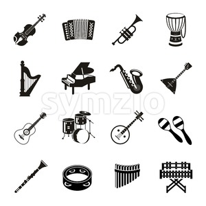 Digital vector black music instruments icons with drawn simple line art info graphic, presentation with guitar, piano, drums and sound elements around Stock Vector