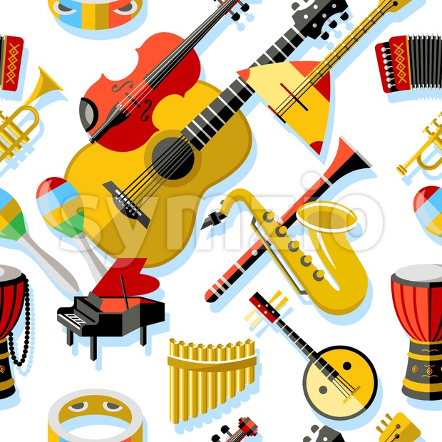 Digital vector yellow red music instruments icons with drawn simple line art info graphic, seamless pattern, presentation with guitar, piano, ...