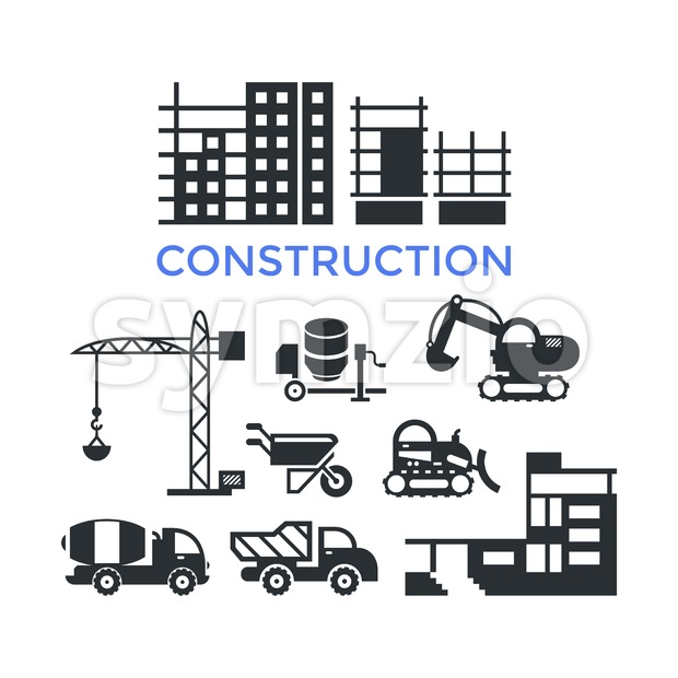 Digital vector black construction building tracks icons with drawn simple line art info graphic, presentation with crane, grout, excavator and ...