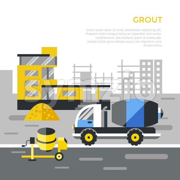 Digital vector black construction building tracks icons with drawn simple line art info graphic, presentation with crane, road, grout, excavator ...