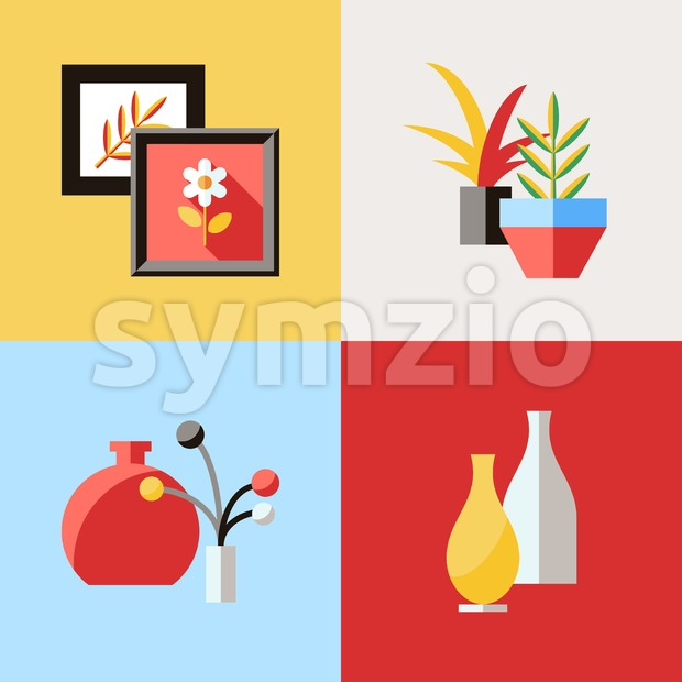 Digital vector red furniture icons with drawn simple line art info graphic, presentation with vase, flower, picture, frame and interior ...
