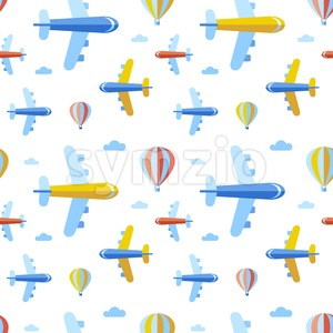 Digital vector blue red travel transport icons set with drawn simple line art info graphic, seamless pattern, presentation with balloon, plane and Stock Vector