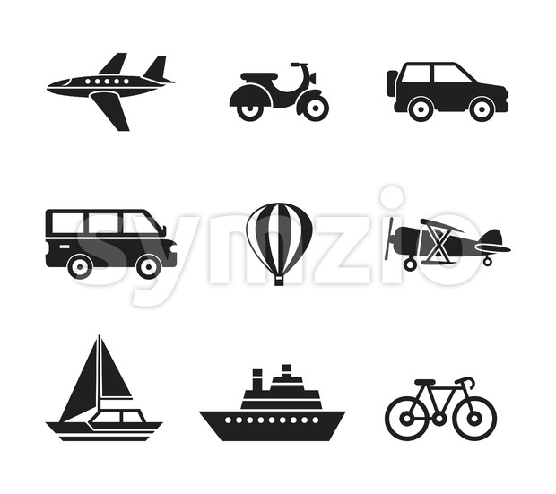 Digital vector black travel transport icons set with drawn simple line art info graphic, presentation with car, plane and vehicle ...