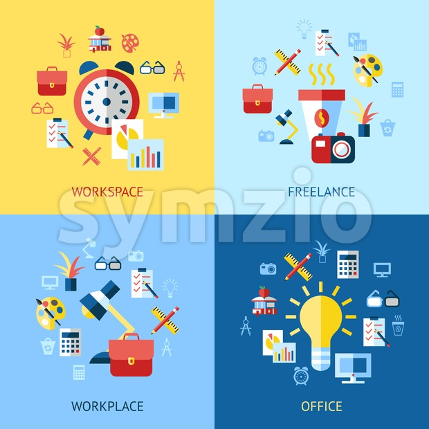 Digital vector blue red work space icons set with drawn simple line art info graphic, presentation with clock, calculator and ...