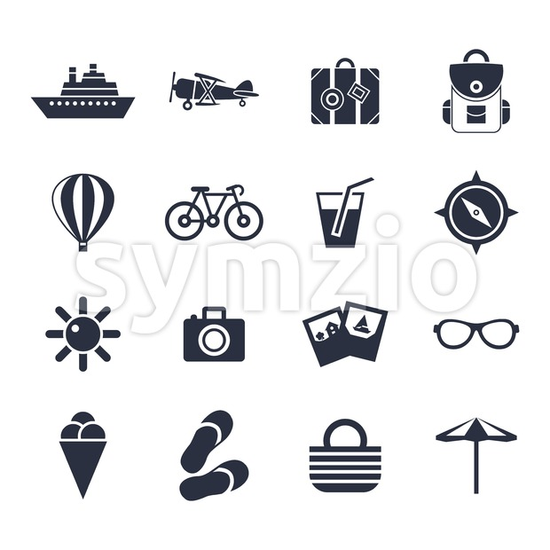 Digital vector black beach travel icons set with drawn simple line art info graphic, presentation with sun, slippers and sea ...