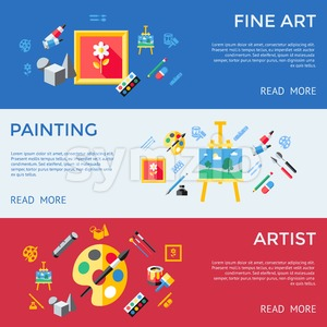 Digital vector blue red artist icons set with drawn simple line art info graphic, presentation with paint, canvas, brush and art tools elements around Stock Vector