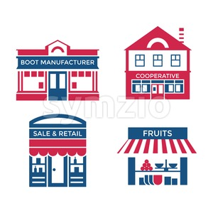 Digital vector red blue supermarket icons with drawn simple line art info graphic, presentation with commerce, shopping building elements around promo Stock Vector