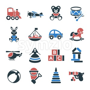 Digital vector black red children toys icons with drawn simple line art info graphic, presentation with bear, plane and bunny elements around promo Stock Vector