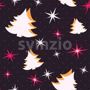 Digital vector black happy new year merry christmas icons with drawn simple line art info graphic, seamless pattern, presentation with tree and stars Stock Vector