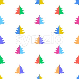 Digital vector color happy new year merry christmas icons with drawn simple line art info graphic, seamless pattern, presentation with tree and stars Stock Vector