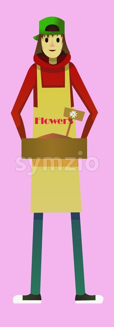 Digital vector kid cartoon simple character delivering flowers worker fast courier, abstract flat style Stock Vector