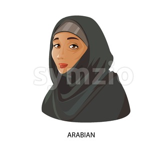 Digital vector funny cartoon arabian muslim woman in black dress dark face, abstract flat style Stock Vector