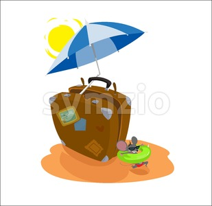 Digital vector funny cartoon big brown travel suitcase at the beach with sun and umbrella with blue stripes, happy mouse with sunglasses and swimming Stock Vector