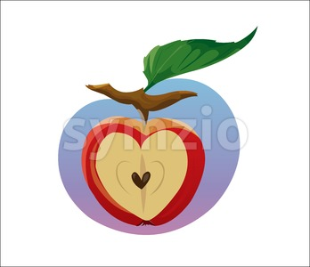 Digital vector funny cartoon growing red apple with seeds, section in shape of heart cut, green leaf, abstract flat style Stock Vector