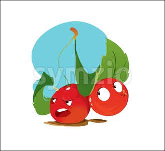 Digital vector funny cartoon anger and happy red cherry sisters with green leaves, happy and mad, abstract flat style Stock Vector