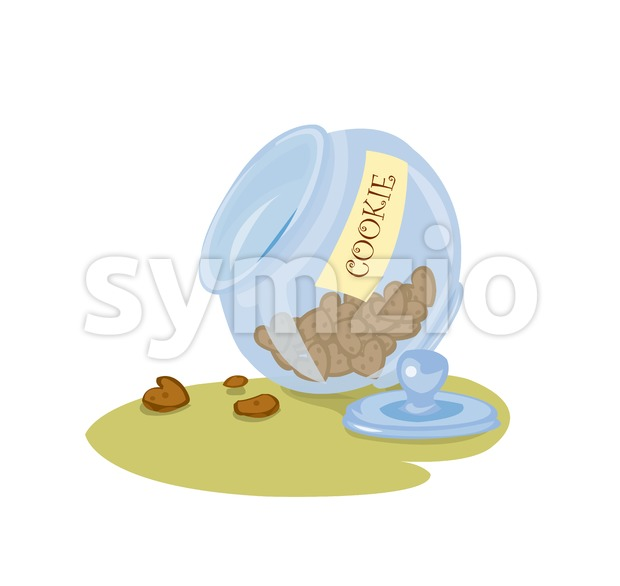 Digital vector funny comic cartoon big blue jar glass with cookies and biscuits in shape of heart, hand drawn illustration, abstract realistic flat Stock Vector