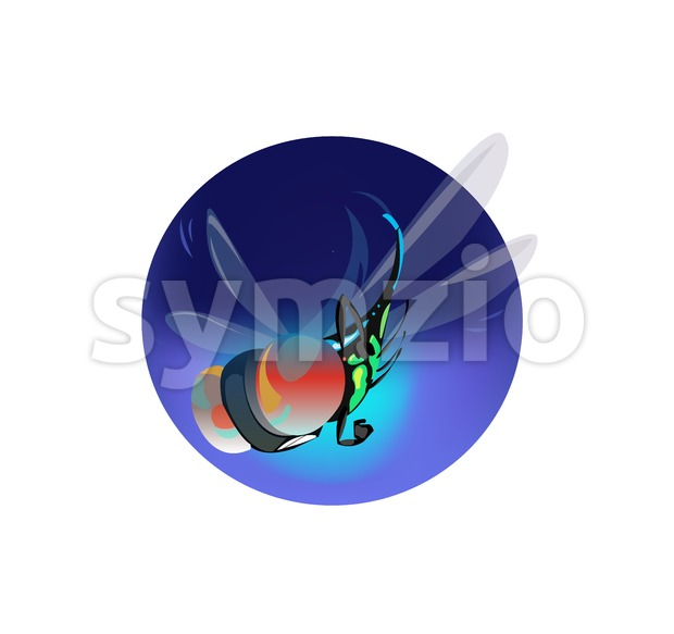 Digital vector funny comic cartoon big blue fly insect flying with wings and red eyes, hand drawn illustration, abstract realistic flat style Stock Vector