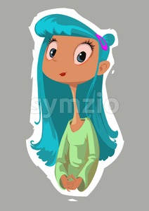 Digital vector funny comic cartoon happy kid fairytale girl with blue hair and very long comic neck, brown skin green dress, hand drawn illustration, Stock Vector