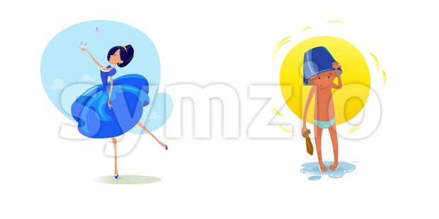 Digital vector funny comic cartoon fairytale princess girl in blue dress dancing with butterflyes at a ball, royal shoes and collar, small kid with a Stock Vector